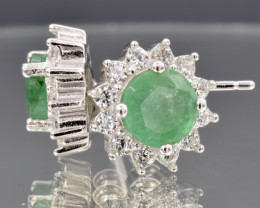 Natural Emerald, CZ and 925 Silver Earring, code CCC 123