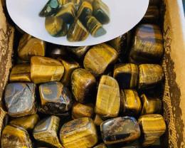 Treasures Box of 50 Tumbled Gold Tiger Eye Stones code TUMTIGEYE