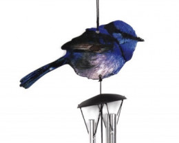 Blue Wren 4 Tube Windchime   Listern sounds video code  WRENBLWC