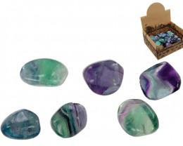 Treasures Box of 50 Rainbow Fluorite Tumbled Stones code  TUMRFLUO