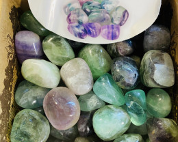 Rainbow Fluorite Tumbled  Brazilian s tones  Box of 50   code  TUMRFLUO