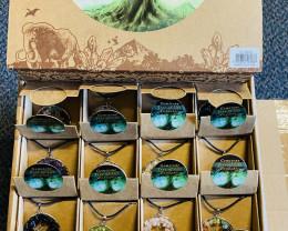 Tree of life pendants  box  32 Gemstones Tree Of Life Pendants code  TOLNEC