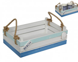 Treasures Box Wide Beach Tray With Rope Handless code BEABTRRP