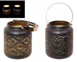 Black/Gold Lanterns W/Gold Handle  2 lanterns  code  LANBGGHS