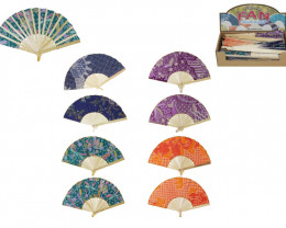 Treasures Box of 12 Fabric/Bamboo Fan code  FANFAB