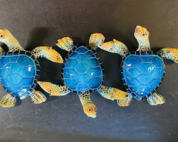 Treasures Box of 3 Realistic Marble Blue Turtles code  TURTMJ7