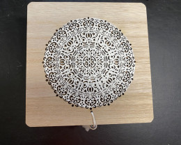 Chest design Mandala Engraved Square  Box  with tassel MANDBTAS WHITE