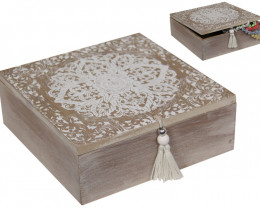 Mini chest Mandala White Screen Square  with tassel  Box MANDGBOX