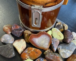 Timber Barrel Money Box Container and Polished Gemstones