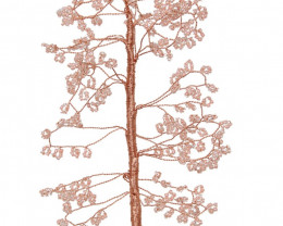 Rose quartz base with copper wire seeded tree 25 cm tall  cose TREELUCS