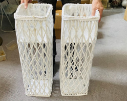 Large White Rattan plant holders 80 cm ,2 pieces   Code WICWSQL