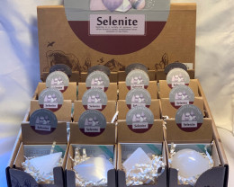 Selenite Collection display box 32 polished stones  Code SELECOL