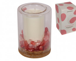 Pomegranate Noir Candle  with holistic crystals  Code POMCAN