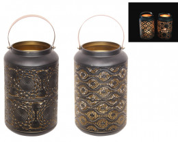 Large Black and Gold Lantern W/ Handle 2 pcs  Code LANBGGHL