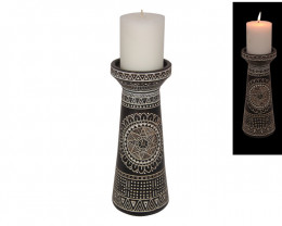 Boho Tribal Pillar Candle Holder 1 pc  Code BOHOTRPC