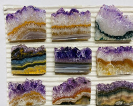 72 Cts   9 pieces Polished Sliced amethyst Crystal  CCC 135