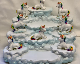 Glitter Rainbow Unicorn plus mountain display  36 pcs  Code UNIRAINP