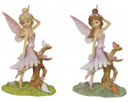 Purple/Pink Fairy With Birds 2 pcs  Code FAIBIRD