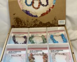 Treasure Box of 18 Gemstone Bracelets  Code GEMBRACE