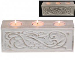 White Scroll 3 Candle Holder  code CANWHIT3