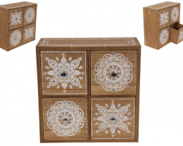 Nick Nack Draws- Mandala Boho 4 Drawer Cabinet  Code BOHOQUAD