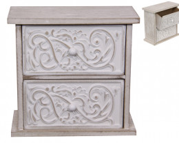 Wood White Scroll Finish 2 Drawer Cabinet  Code DRAWER2