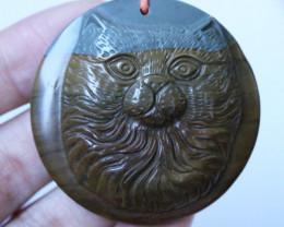 146 Cts Cute cat carved Jasper Beads BU1574