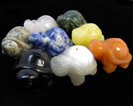 1075 Cts 6 turtles carved in Beautiful Jaspers GG 1343A
