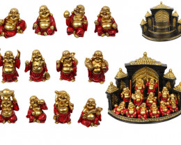 Treasure Box of Red/Gold Happy Buddha on display 48 pcs   Code BUDDRGHPK