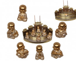 Treasure Box of Lucky Gold Buddha Monk  on display 36pcs   Code BUDDGGMD