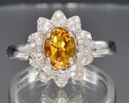 faceted  Citrine Silver Ring size N      CCC 145