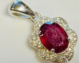 Faceted Rhodolite  Silver Pendant      CCC 146