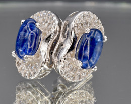 Natural Kyanite, CZ and 925 Silver Earring, Elegant Design    CCC 147