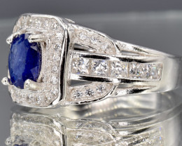 Natural Blue Sapphire, CZ and 925 Silver Ring size  Q     CCC 148