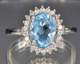 Natural Topaz, CZ and 925 Silver Ring size   O    CCC 1469