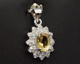 faceted  Citrine Silver Pendant     CCC 150