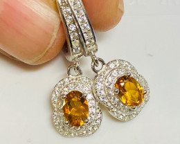 Natural Citrine, CZ and 925 Silver Earring, Elegant Design  CCC 153