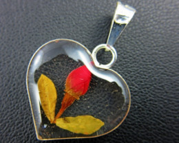 Natural mexican Rose  flower set in silver pendant GTJA 164