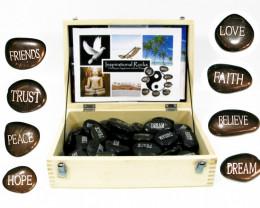 Treasures Box of 72 River Stone Wording  Code RSWB
