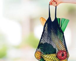 Navy Cotton String Shopping Bag  code 35395