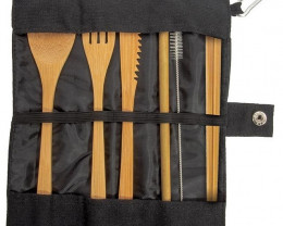 Black Set of Eat-Out Bamboo Travel Cutlery code 88085