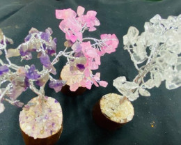 Set Three  Gemstone Trees ,amethyst,rose Quartz ,Crystal  code CCC 200