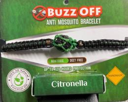 insect Repellent Citronella in lava Stone Bracelet Green wrap   code CITBRA