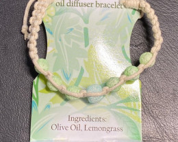 Lemon Grass Wellness Oil Diffuser Lava stone  Bracelet  code WELLOIL