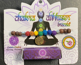 Crown  Chakra lava stone  Diffuser Bracelet  Code CHAKDIF