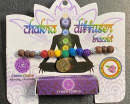 Crown  Chakra Tree Of life lava Stone   Diffuser Bracelet  Code CHAKDIF
