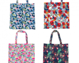 Promotion 4 pcs Foldable Shopper Botanical assorted  code 15172