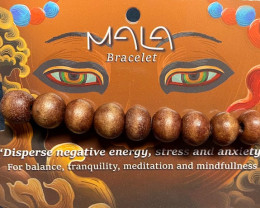 Meditation  Bead Bracelet Brown  wood color  Code BUDDMALA