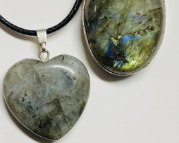 75cts Labradorite pendant and heart shape one CCC 225