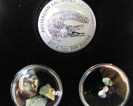 Crocodile Silver Coin & black Opal series CCO 100
